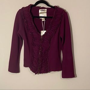 Anthropologie Nick & Mo Ruffle Front Jacket